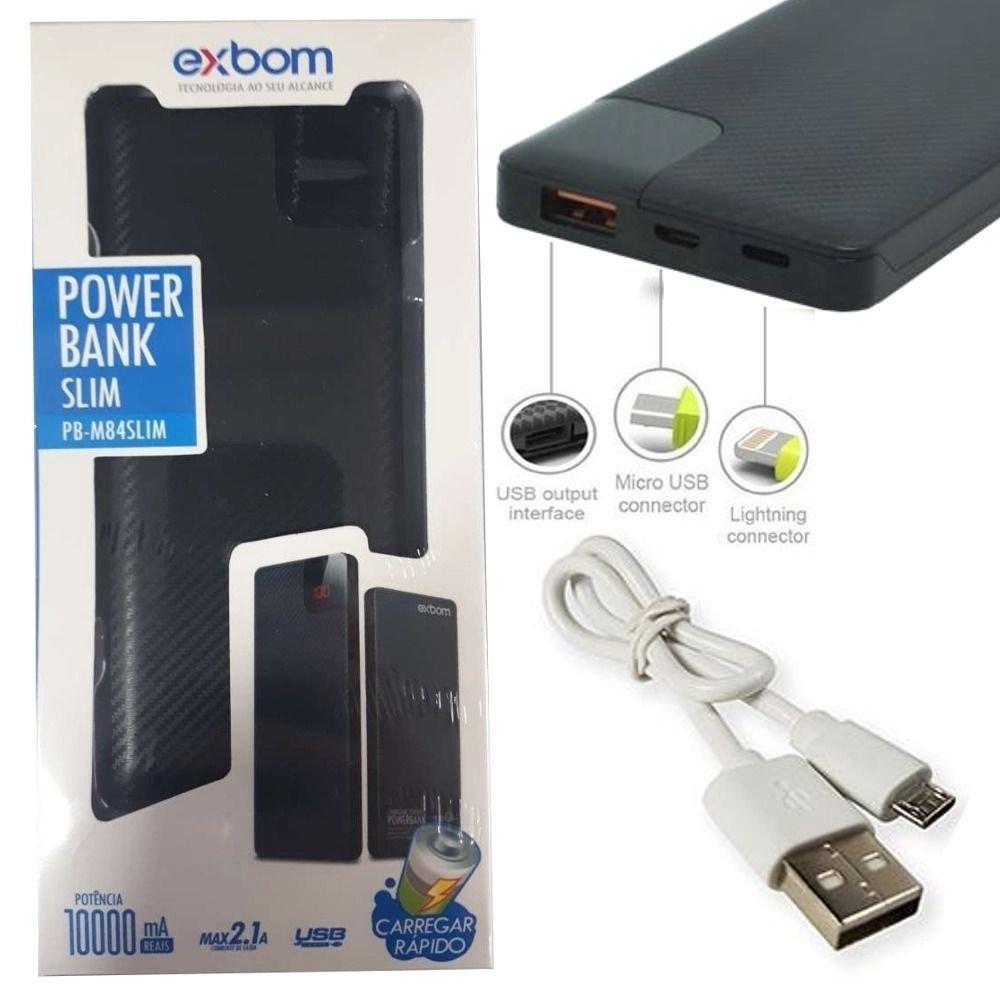 POWER BANK CARREGADOR PORTATIL EXBOM 10000 SLIM PB-M84SLIM