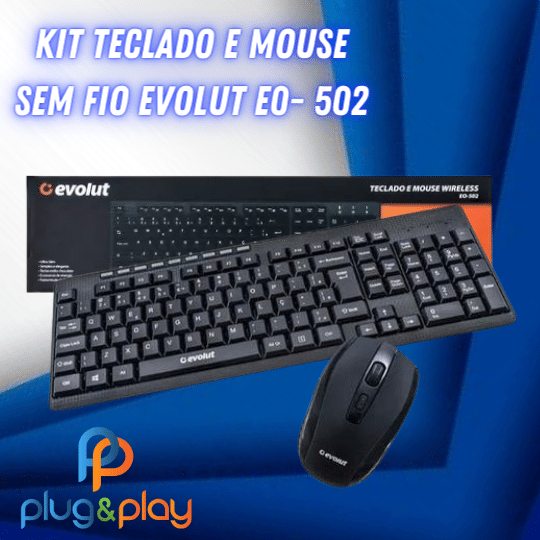 TECLADO EVOLUT SEM FIO EO-502
