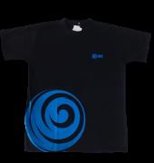 Camiseta Manga Curta preta com azul