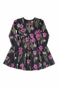 vestido manga Longa Malha flor preto