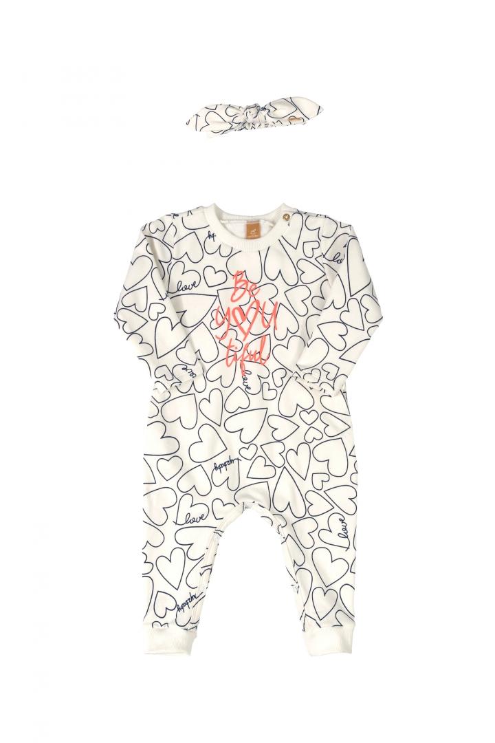 Macacão coração com faixa