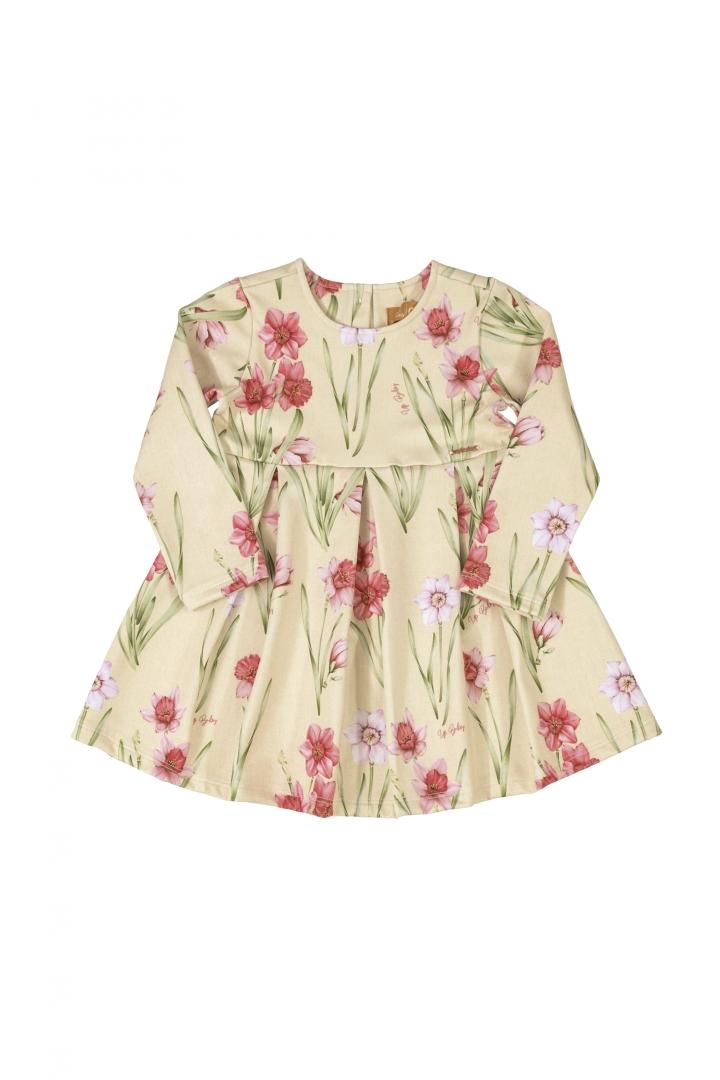 vestido manga Longa Malha flor Cru