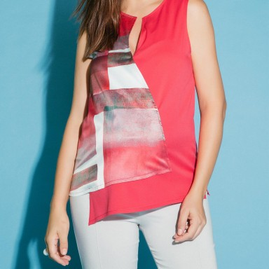 Blusa Bi Color Estampa Rose
