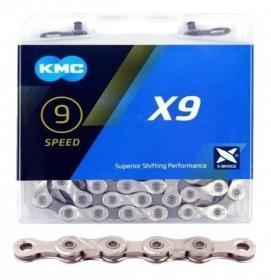 CORRENTE X9 PRATA E CINZA 1/1X11/128 116 ELOS - KMC
