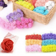 Mini Arranjo Flores Rosas E.V.A pacote com 144 unidades c/ Tule