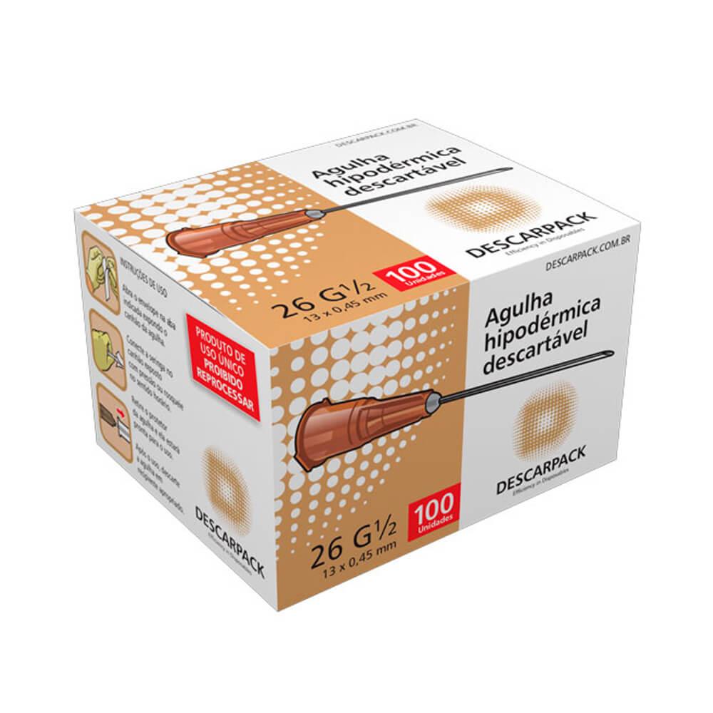 Agulha Descartável Hipodérmica 13 x 0,45mm com 100 Unidades 26 G 1/2 (Dpack)  - Emphática