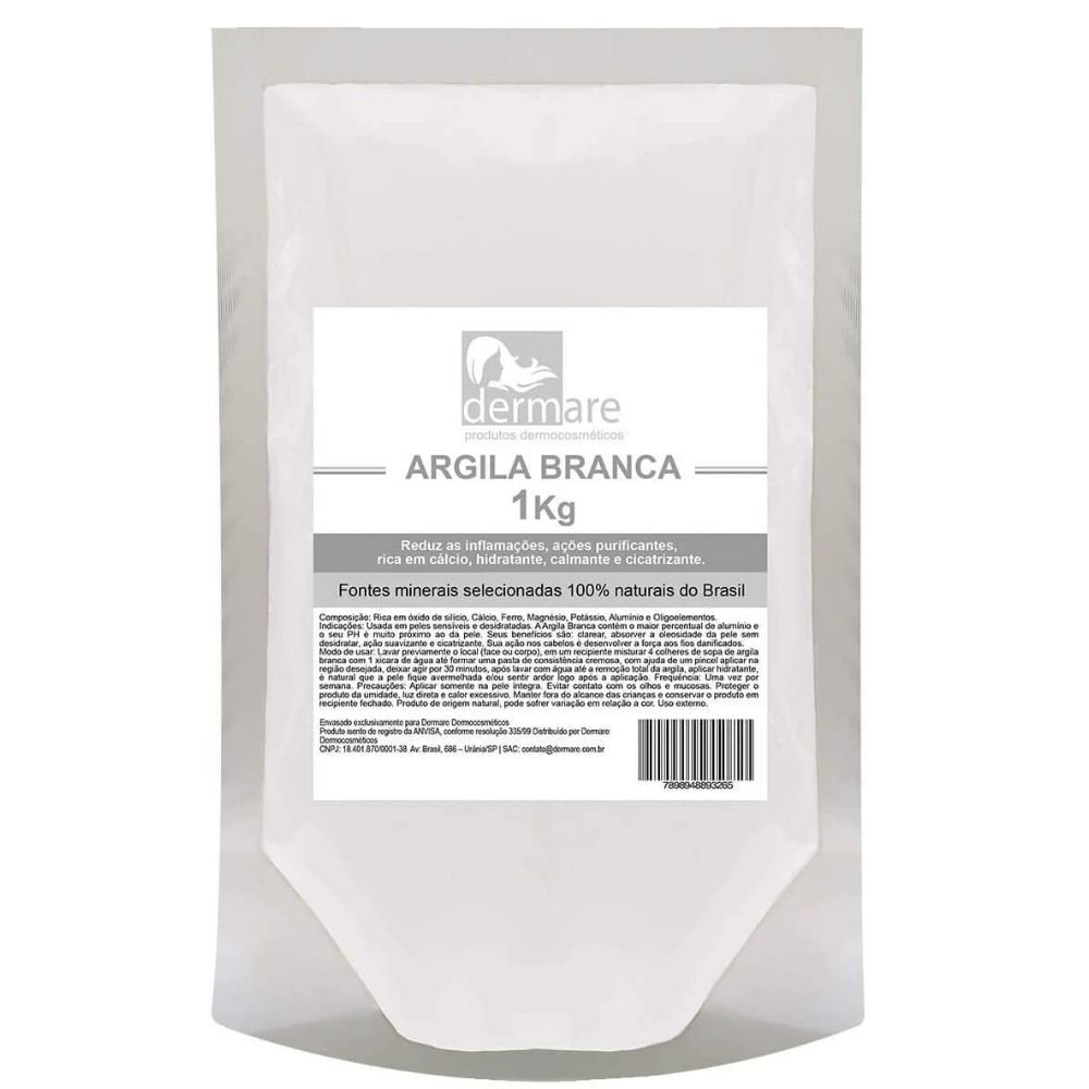 Argila Branca  - Clareadora e Cicatrizante 1kg (Dermare)  - Emphática