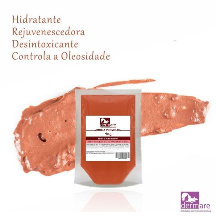 Argila Vermelha - Hidratante e Redutora 1kg (Dermare)  - Emphática
