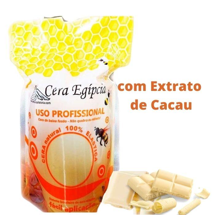 Cera Egípcia Quente Depilatória Elástica Anestésica Chocolate Branco 500g (EG)  - Emphática
