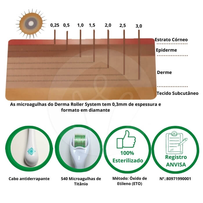 Derma Roller System 540 Agulhas - 2,00 mm (Doutor da Estética)  - Emphática