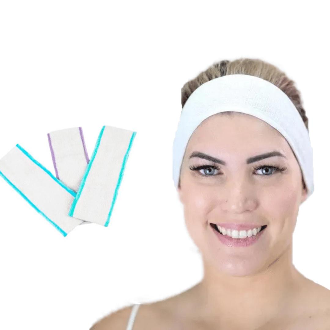 Faixa para Cabelo Atoalhada com Velcro KIT c/ 3  - Emphática