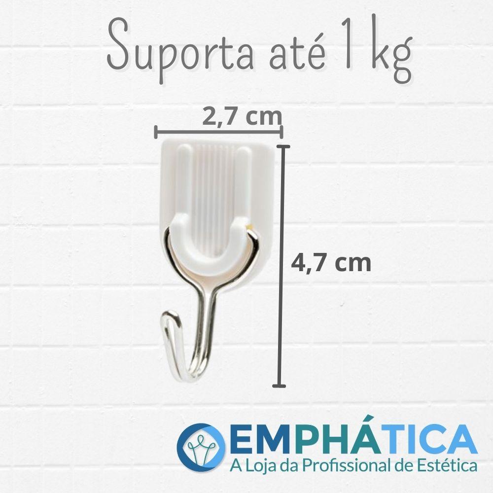 Gancho de Parede Adesivo c/ 12 - Suporta 1,00 Kg Branco  - Emphática