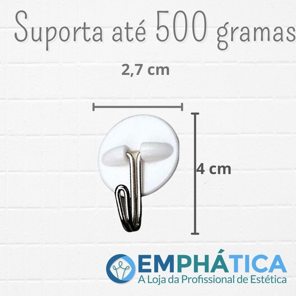 Gancho de Parede Adesivo c/ 6 - Suporta 0,5 Kg Branco  - Emphática