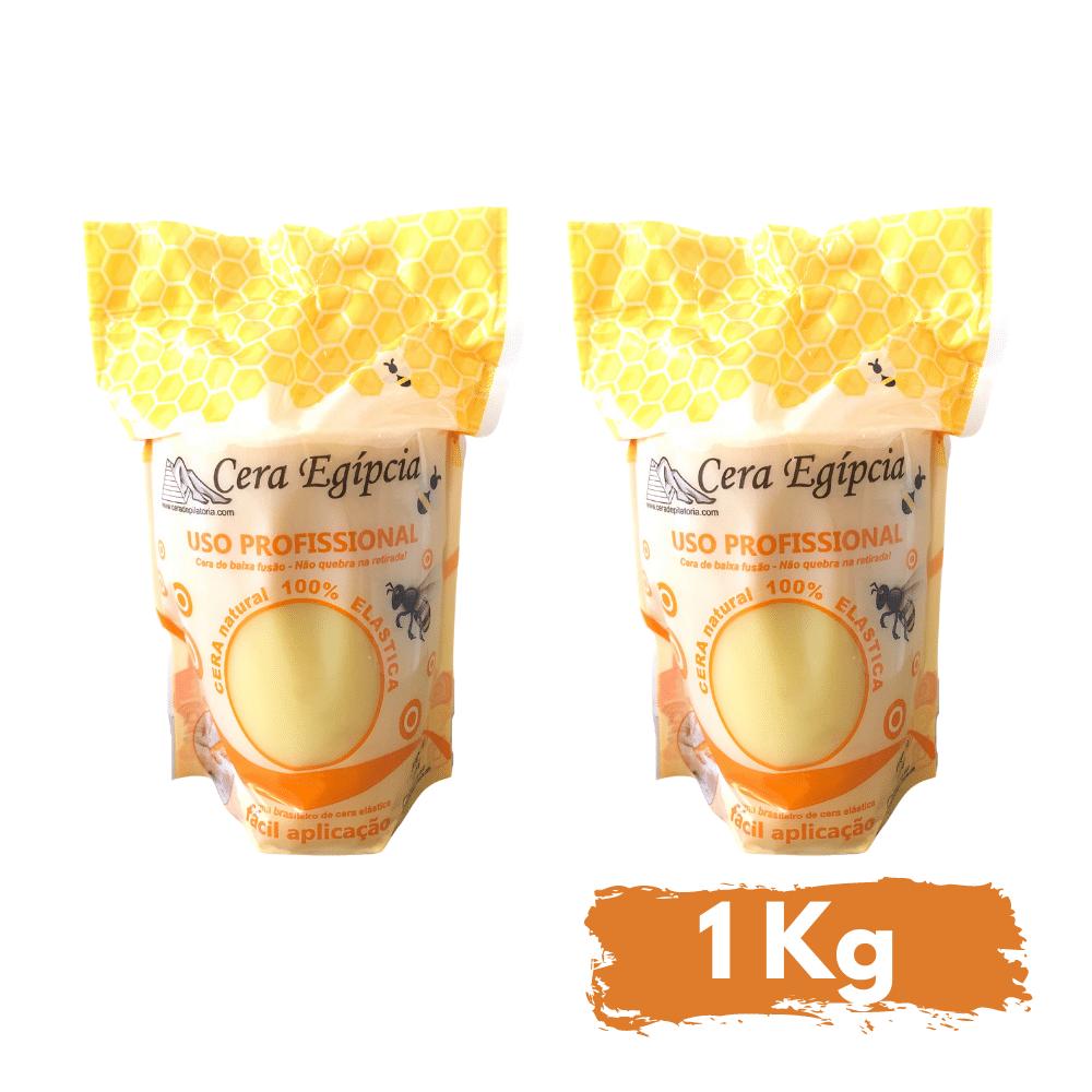 Kit c/2 Cera Egípcia Quente Depilatória Elástica Anestésica Mel e Própolis (1kg)  - Emphática
