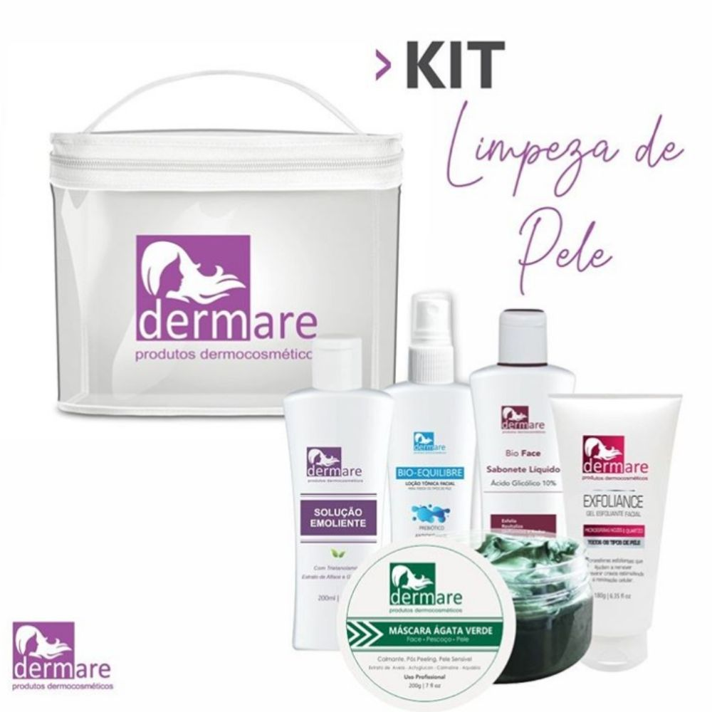 Kit Limpeza De Pele c/ 5 Itens (Dermare)  - Emphática