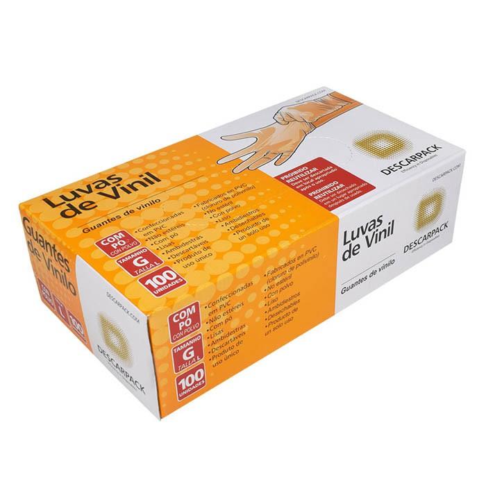 Luva Vinil Descartável com Pó Caixa Com 100 Unidades (Descarpack)  - Emphática