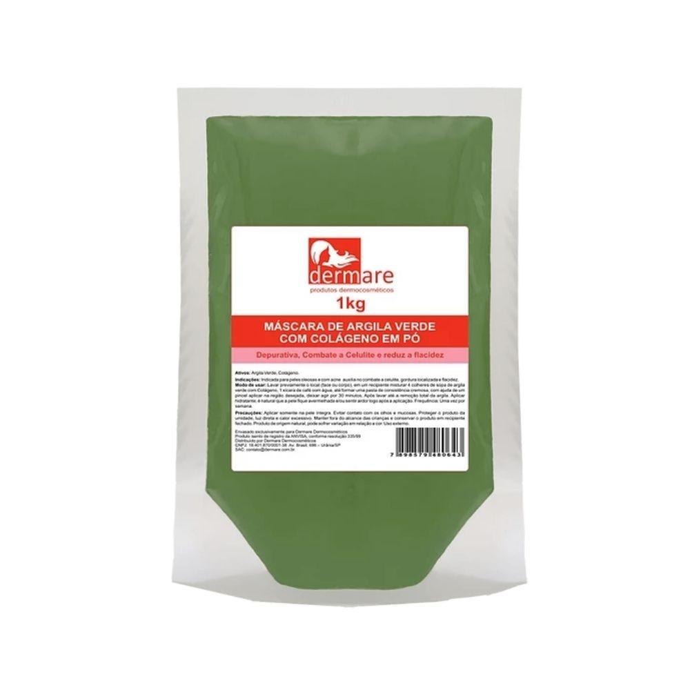 Máscara de Argila Verde com Colágeno em Pó 1kg (Dermare)  - Emphática