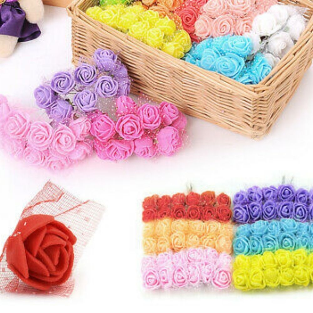 Mini Arranjo Flores Rosas E.V.A pacote com 144 unidades c/ Tule  - Emphática