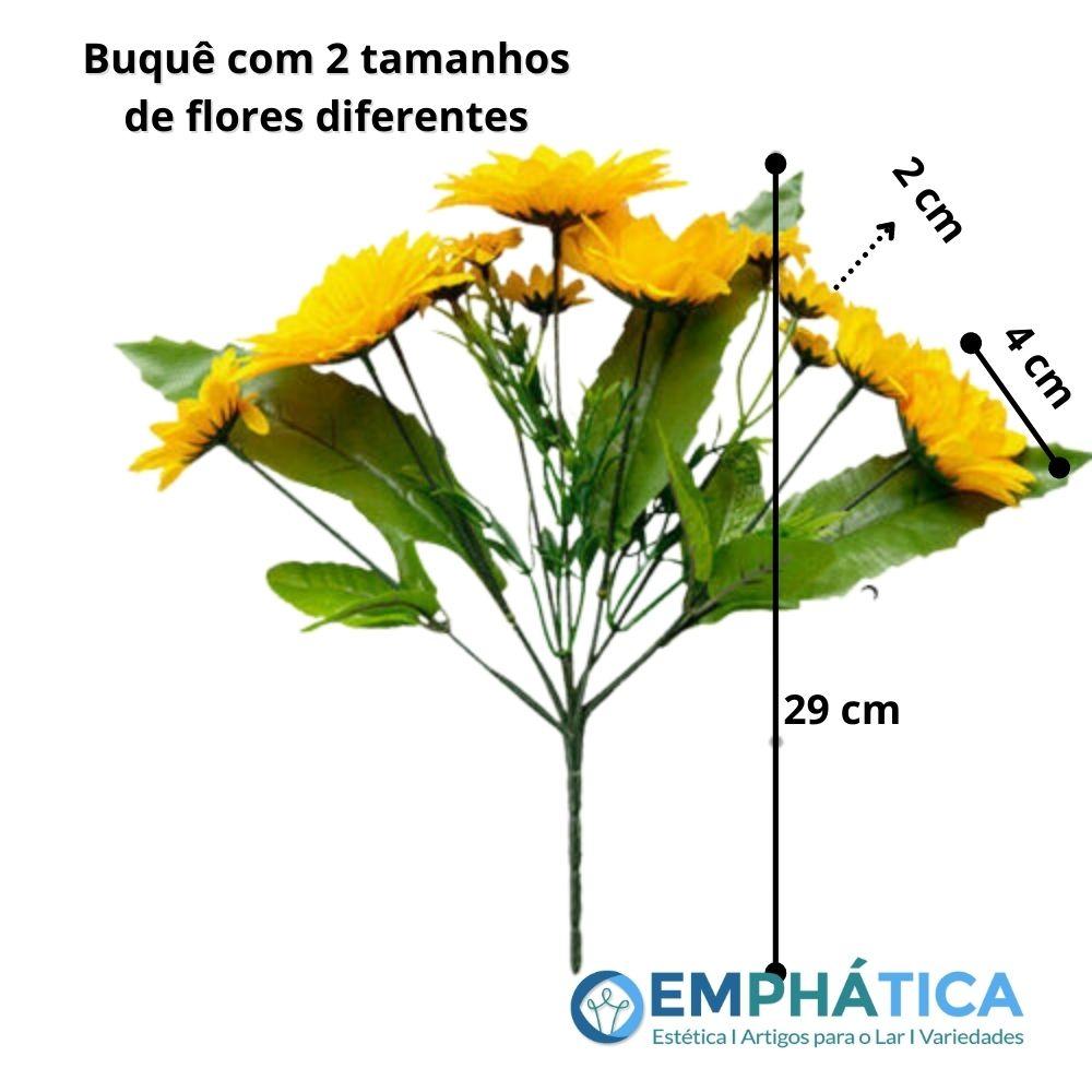 Mini Buque Girassol Artificial c/ 2 ramos  - Emphática