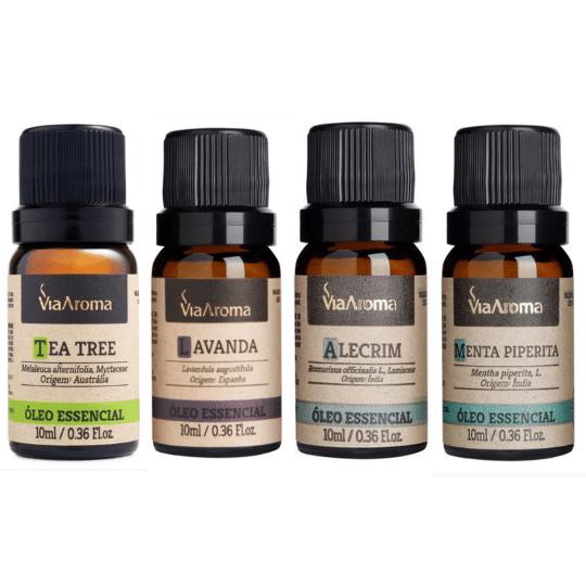 Óleo Essencial 10ml - Alecrim + Lavanda + Menta + Tea Tree Melaleuca (Via Aroma 100% Natural)  - Emphática