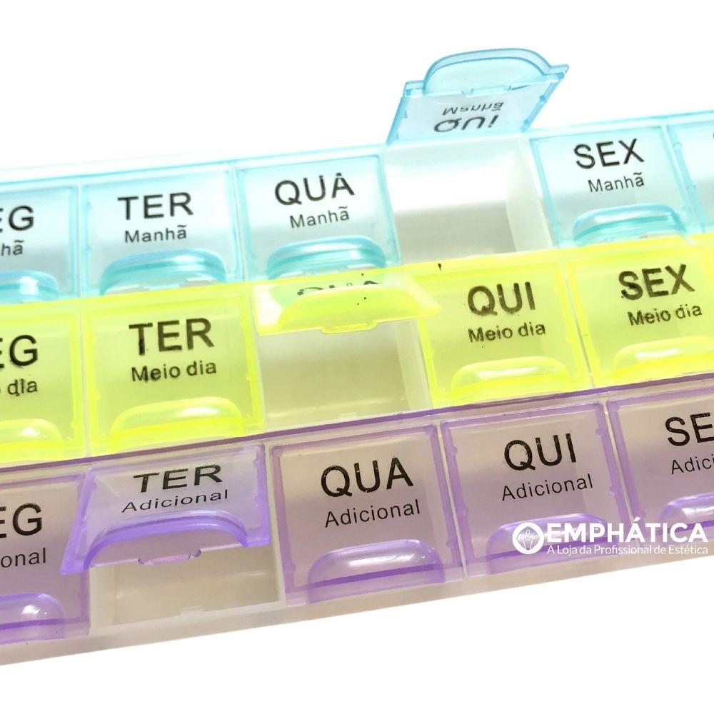 Porta Comprimidos Com 21 Divisões (Manhã,Tarde e Noite)  - Emphática
