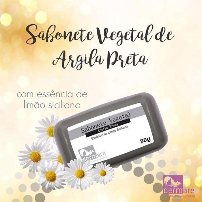 Sabonete Vegetal Argila Preta 80g (Dermare)  - Emphática