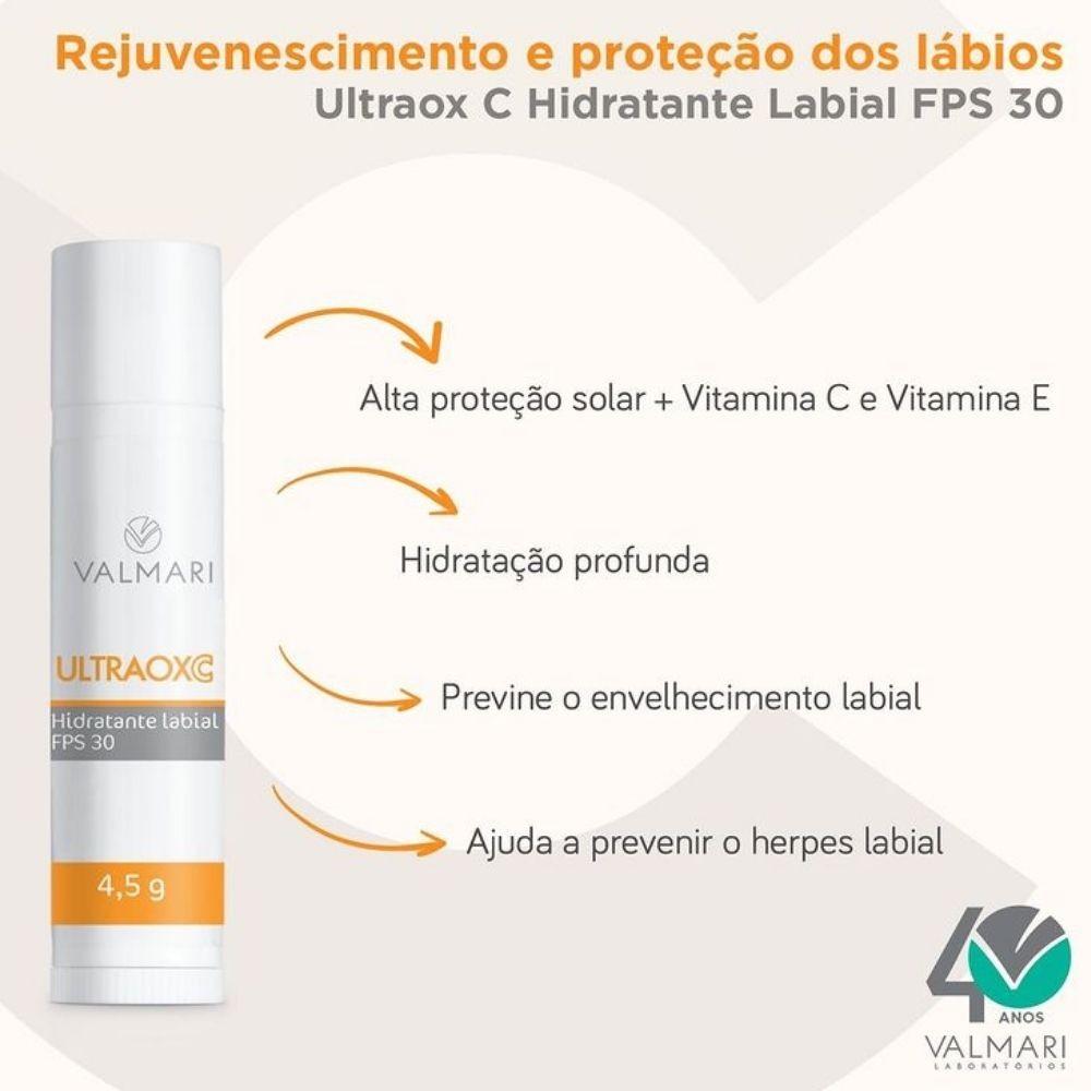 Ultraox C Hidratante Labial FPS30 4,5g (Valmari)  - Emphática