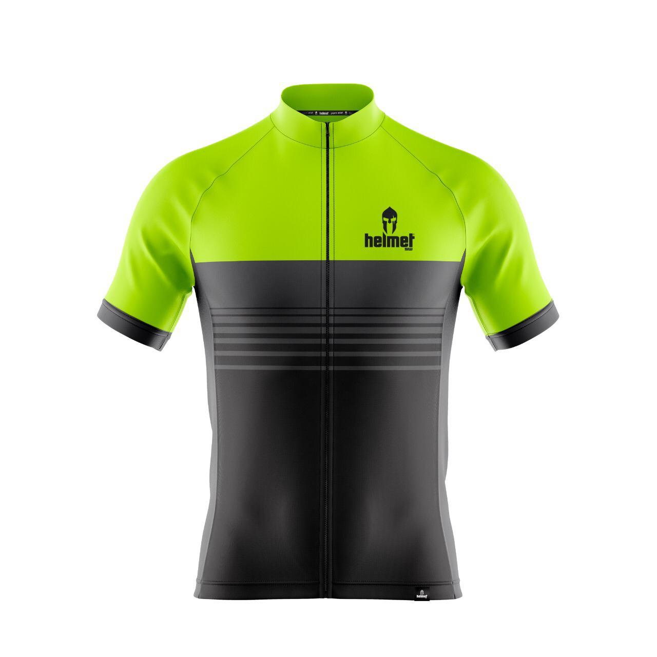 Camisa de XC Helmet SW Stripes Verde Limão Masculina
