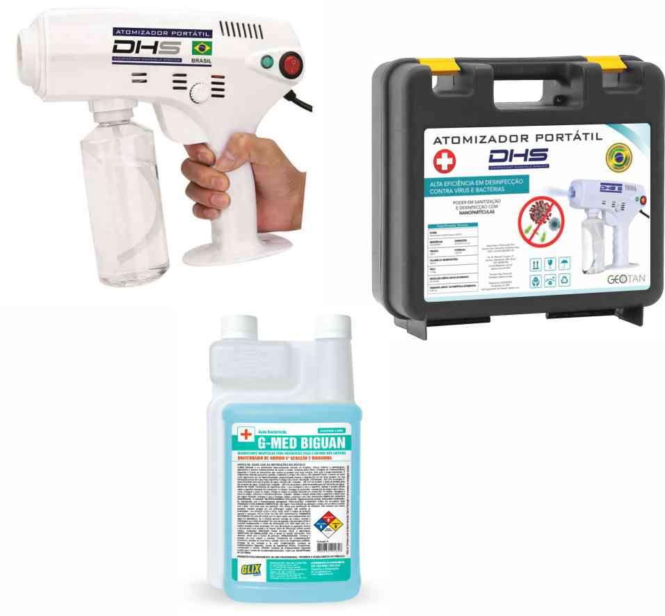 Kit Atomizador Portátil Geotan DHS-P + Maleta + 1 Litro Desinfetante