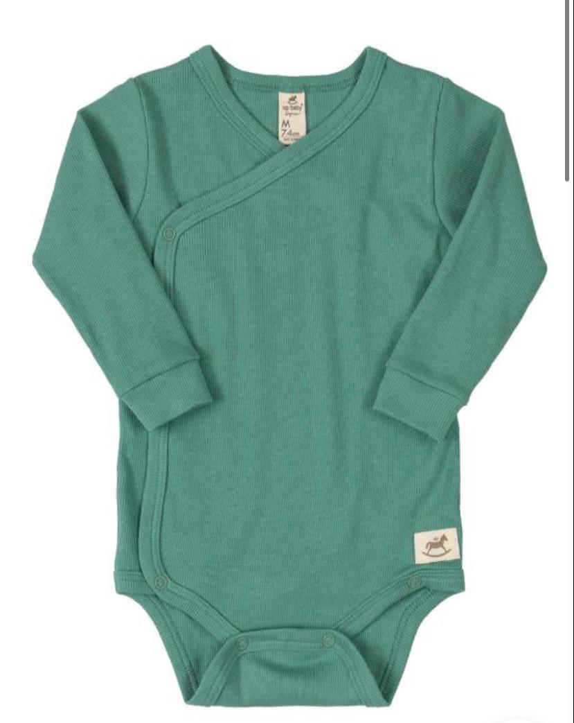 Body Manga Longa em Ribana Canelada Verde- Up Baby