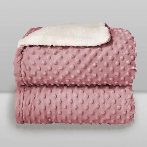 Cobertor Sherpam Dots Branco Cinza e Rosa - Laço Bebê