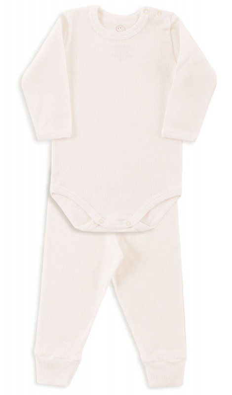 Conjunto Bebê Body Canelado Marfim- Dedeka