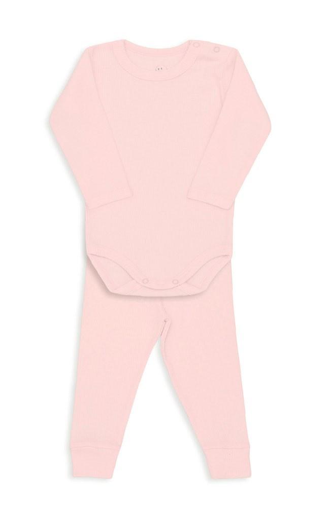 Conjunto Bebê Body Canelado Rosa Bebê - Dedeka