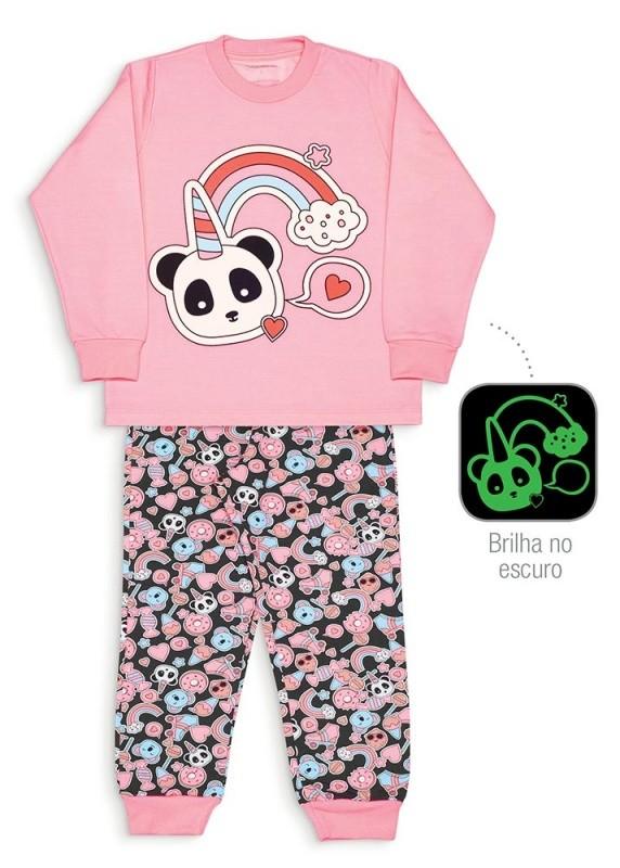 Pijama adesivos e panda unicórnio moletinho - Dedeka