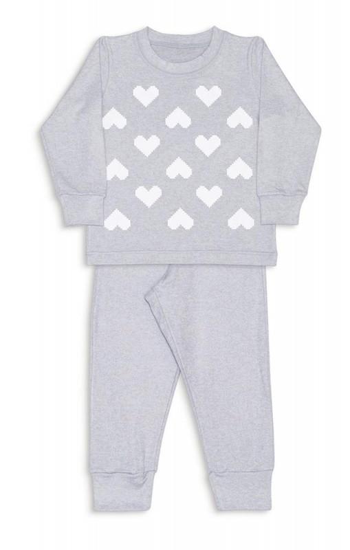 Pijama Coração Pixelados Melange - Dedeka