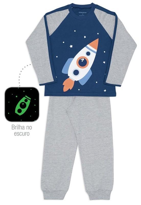 Pijama foguete infantil de meia malha - Dedeka