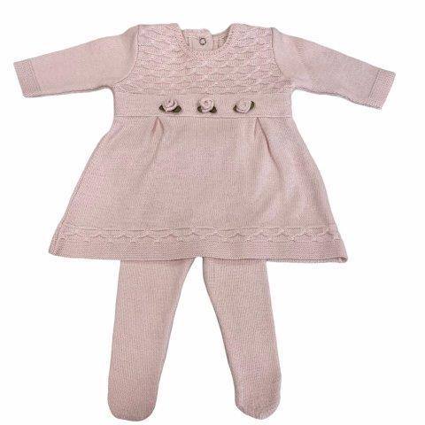 Saída de Maternidade Tricô Flor Menina RN - Milly Baby