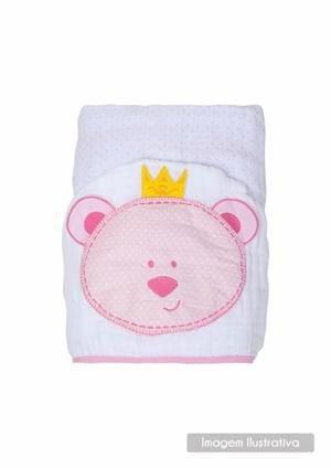 Toalha Soft Com Capuz Urso Rosa- Papi