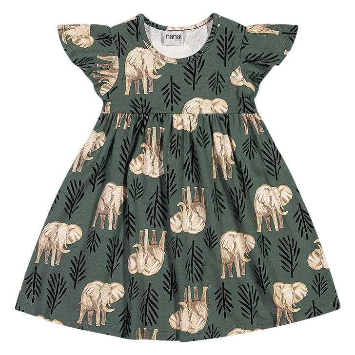Vestido Elefantes verde - Nanai