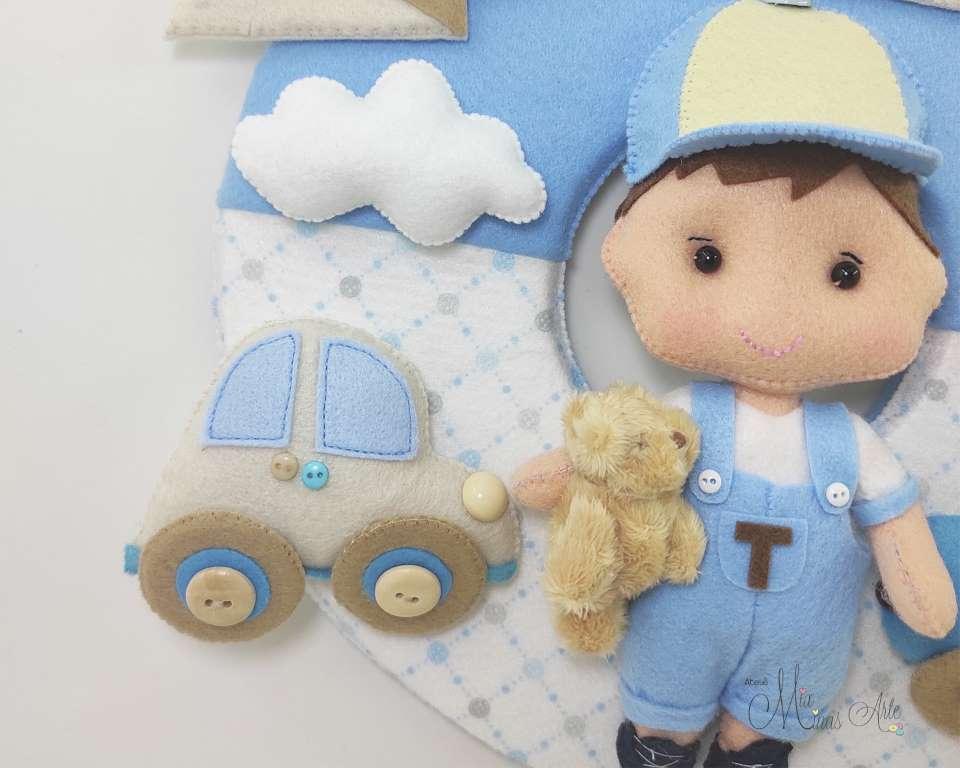 Enfeite de Porta Maternidade Menino com Brinquedos