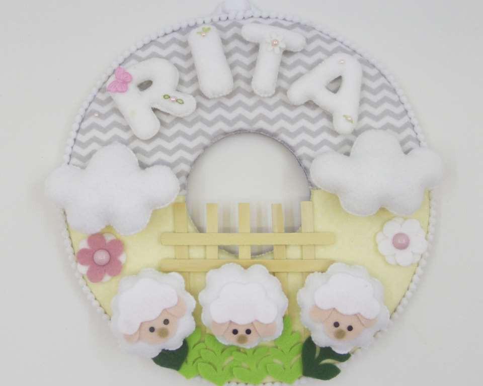Enfeite de Porta Maternidade Ovelhinhas