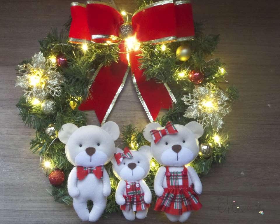 Guirlanda Natal Família com 3  Ursinhos