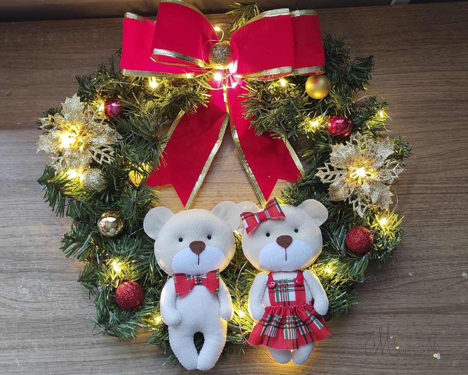 Guirlanda Natal Família Ursinhos Casal