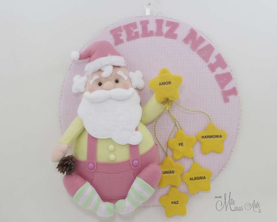 Guirlanda Natal Papai Noel Rosa