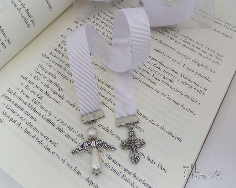 Lembrancinha Batizado  Marcador de Página  Anjinho e Cruz