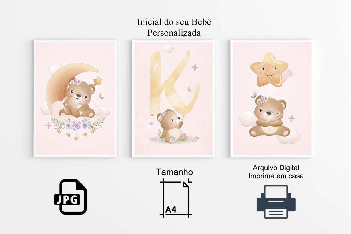 Quadros  Poster Ursinhos Decoração Arte Digital ( Imprima em Casa)