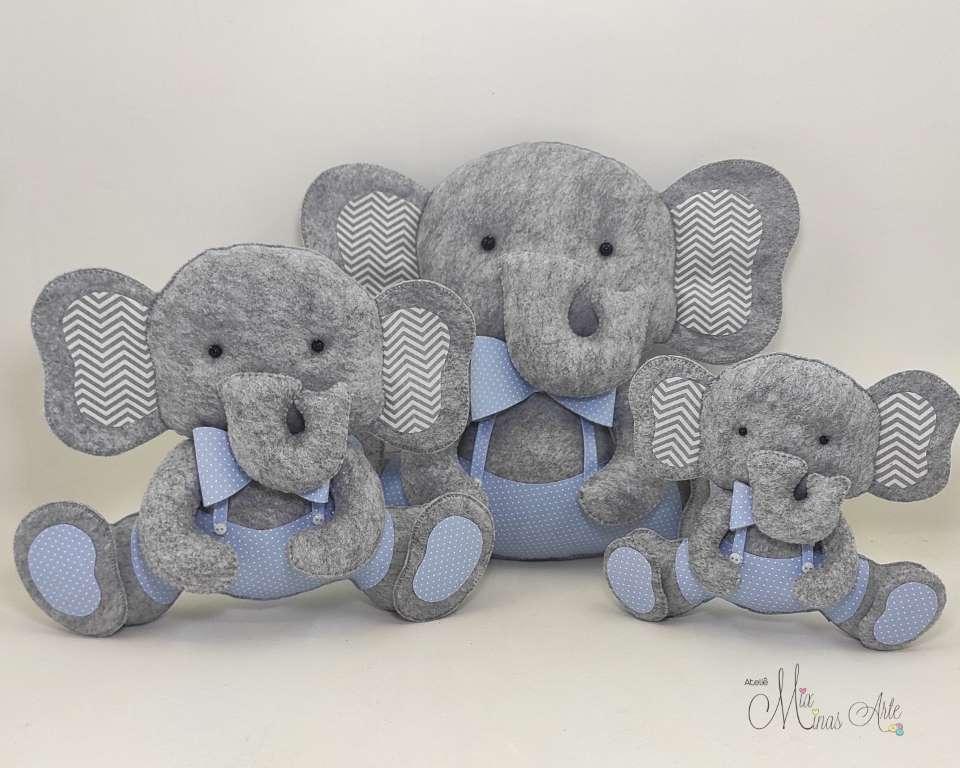 Trio de Elefantes para Nicho Cinza