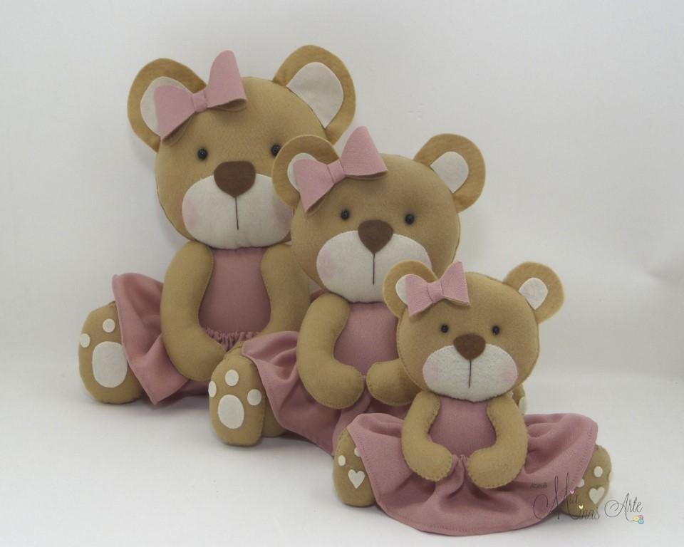 Trio de Ursinhas Caramelo com vestido Rosa Seco