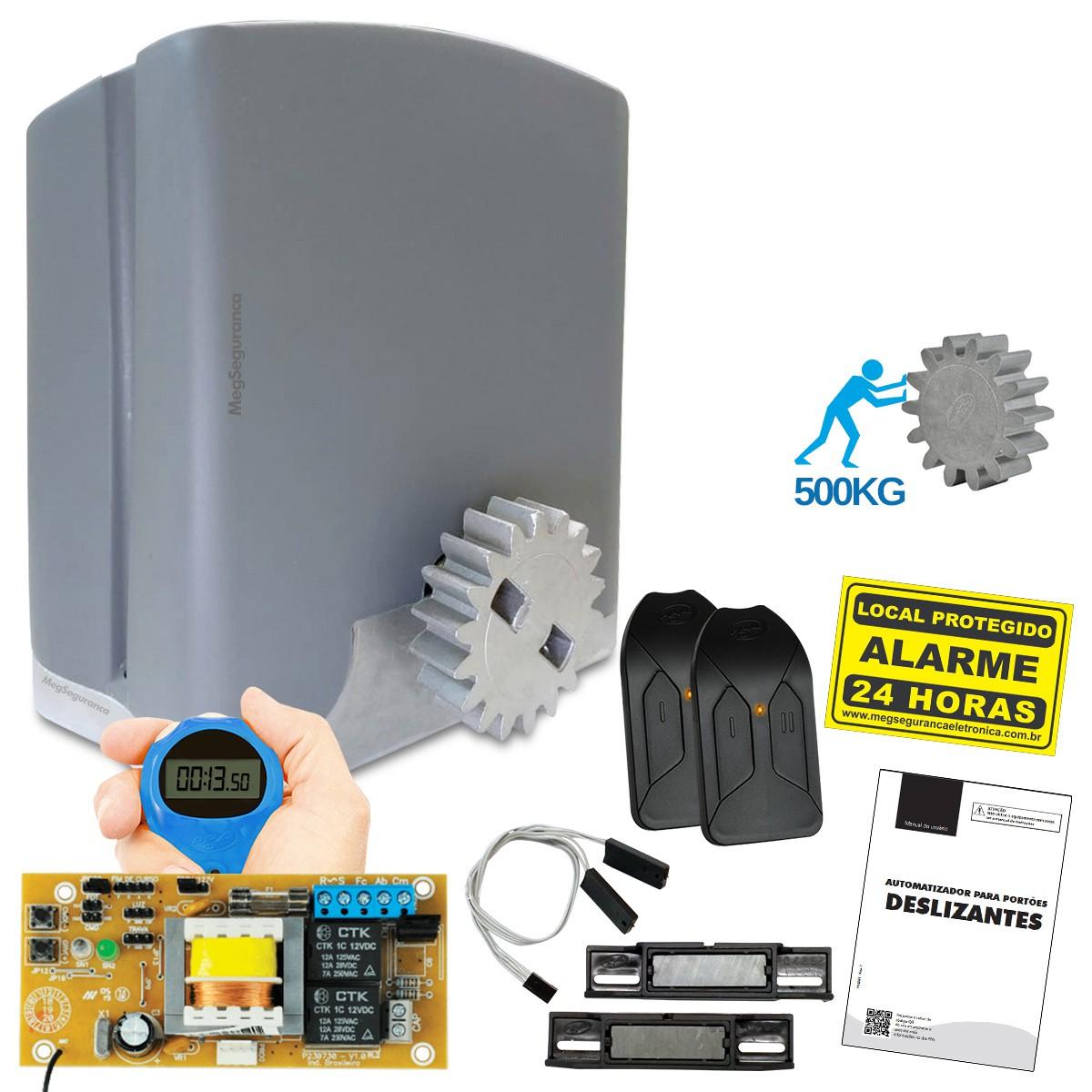 Kit 1 Motor PPA DZ Rio KL 2 Controles Portão Eletrônico 500kg