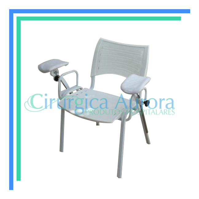 Cadeira de Coleta Sangue, Assento e Encosto Plastico, Com Bracadeiras Laterais